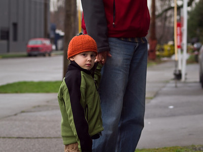 My nephew Tristen and the legs of my tall brother Chris in Seattle. January 30th, 2010.