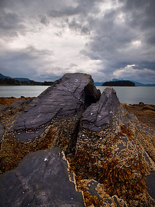 A few slab-like rocks point West over Auke Bay in Fritz Cove, North of Juneau. august 23, 2010.