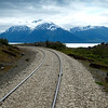 The railroad runs along the Seward Highway