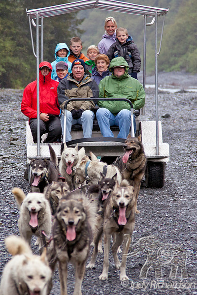 Our group trying to keep warm as the sled dogs cool down~Seavey's dogs in Seward, Alaska.