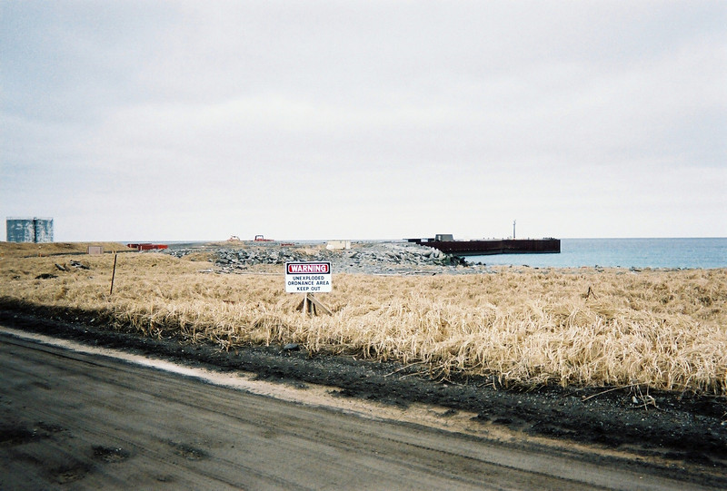 UXO (Unexploded Ordnance) area and the boat dock in the background.