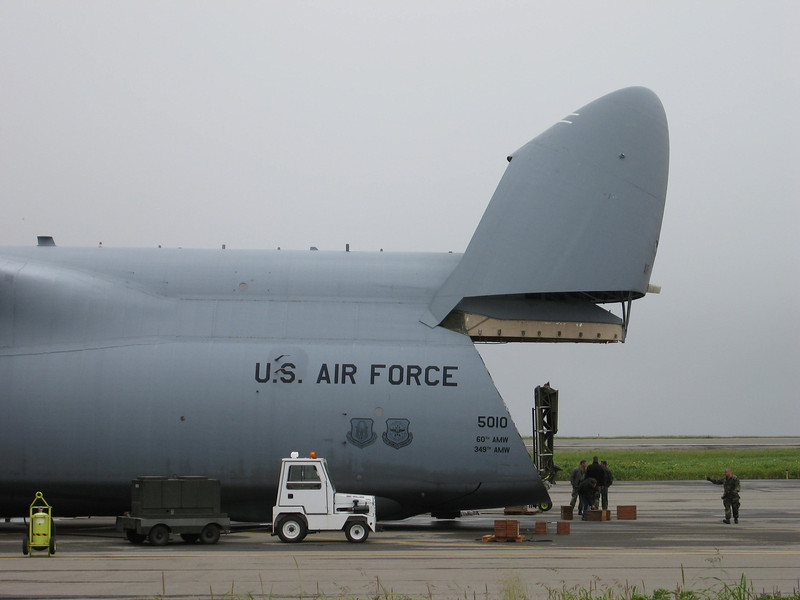 U.S. Air Force C-5 Galaxy Cargo Plane loading up cargo on Shemya Island, Alaska
