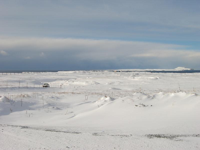 Shemya Island, Alaska in the winter.