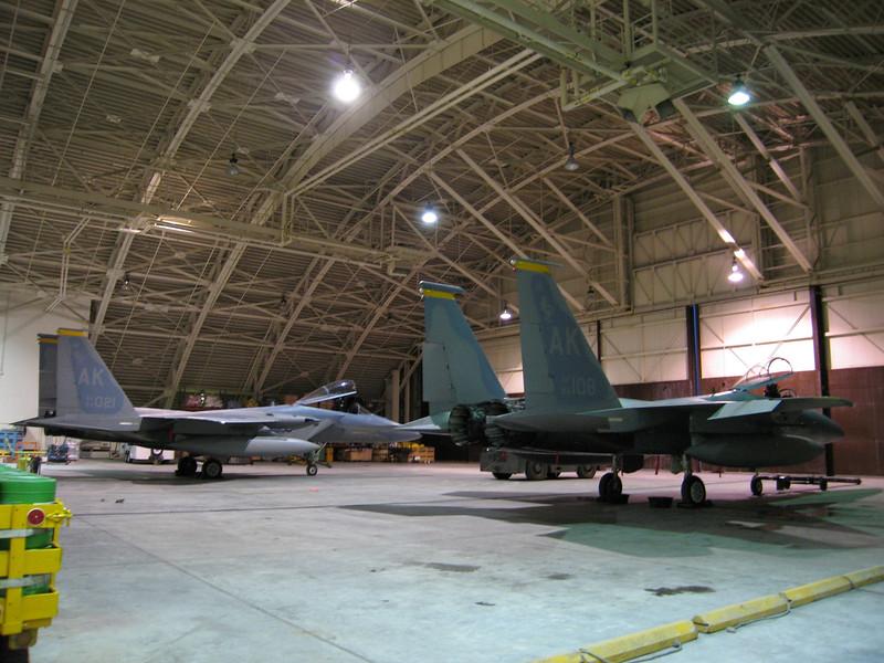 F-15's in the hangar on Shemya Island.