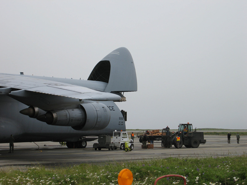 U.S. Airforce C-5 Galaxy Cargo plane on Shemya Island, Alaska.