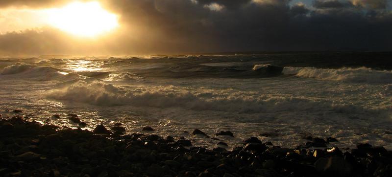 High waves on West Beach.
