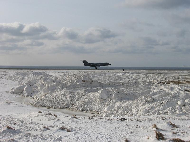 Back to work. G-3 landing on Shemya Island, Alaska.