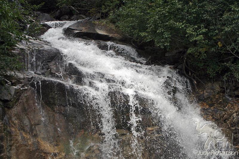 Spectacular waterfall along the Klondike Highway to Yukon Territory