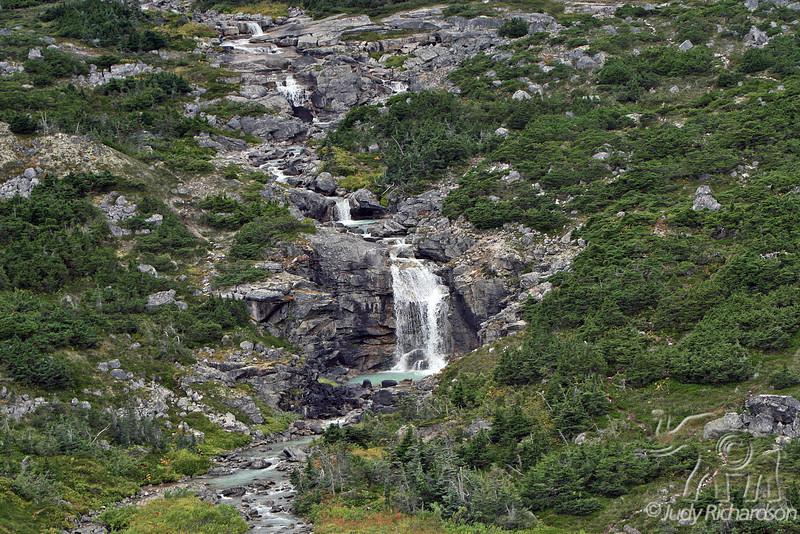 Cascading waterfall along Klondike Highway