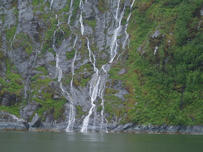 Waterfalls inside Tracy Arm