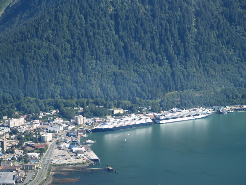 Cruise ship docks in downtown Juneau
