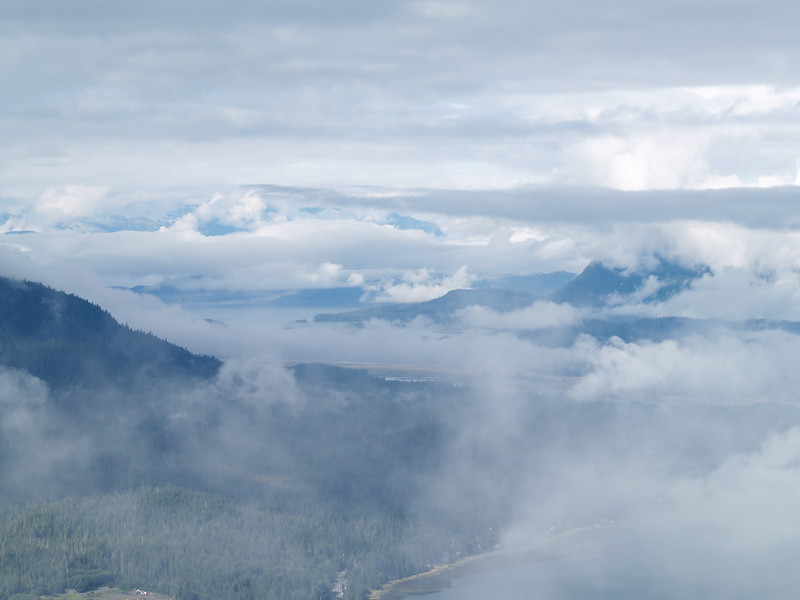 Fog over north Gastineau Channel from Mt. Roberts