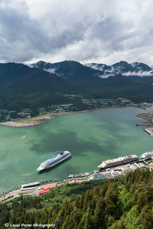 View of cruise ships in Gastineau Channel from Mount Roberts, Juneau, Southeast Alaska.<br /> <br /> July 03, 2014