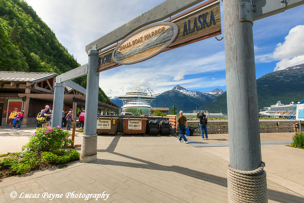 Passengers walking to and from the Crown Princess Cruise Ship at the Port of Skagway and Small Boat Harbor, Southeast Alaska.<br /> <br /> July 01, 2014