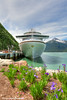 The Crown Princess Cruise Ship docked at the Port of Skagway with Purple Iris flowers, Southeast Alaska.<br /> <br /> July 01, 2014