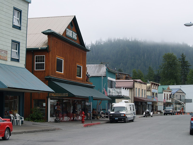 We arrived in Wrangell to a cool fog, which was a refreshing change from the clear skies and heat of July (2009).