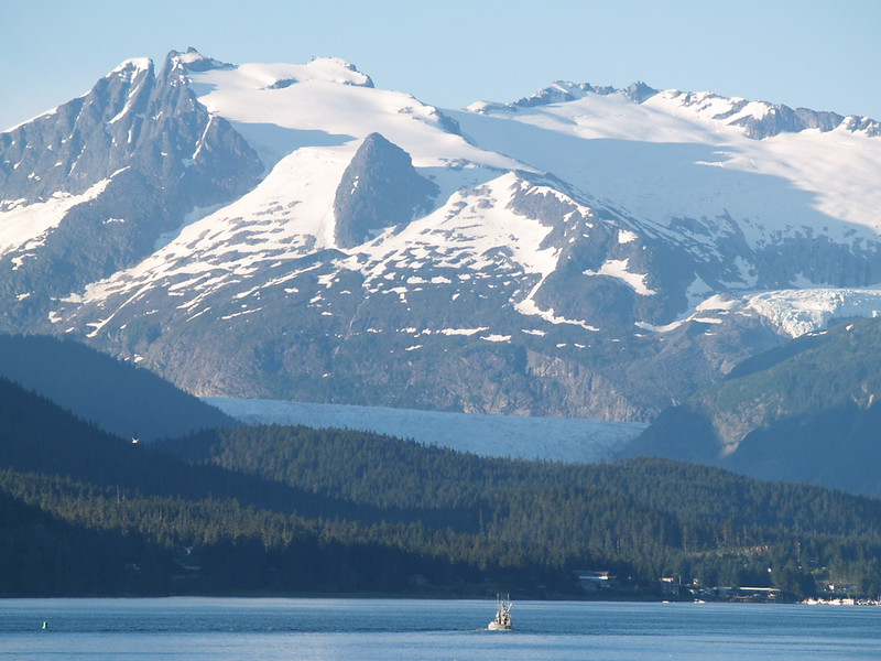 Mendenhall Glacier from Auke Bay as the ferry leaves Juneau for Skagway (2006).