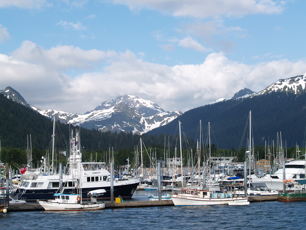Looking back at Sitka from the channel (2007).