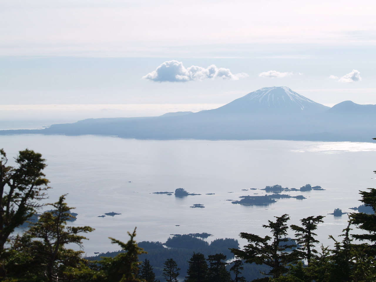 A view of Mt. Edgecumbe from the top of Harbor Mountain (what a hike!). See the snow melt a month later? The road going up to Harbor Mountain had just been opened as the snow had finally melted enough to open the third and last gate to the hiking trail. The stairs up to this point are not for the faint of heart but feel free to step off the path to catch your breath at any time (I did several times) since the whole scene once you reach this point will ultimately leave you breathless!