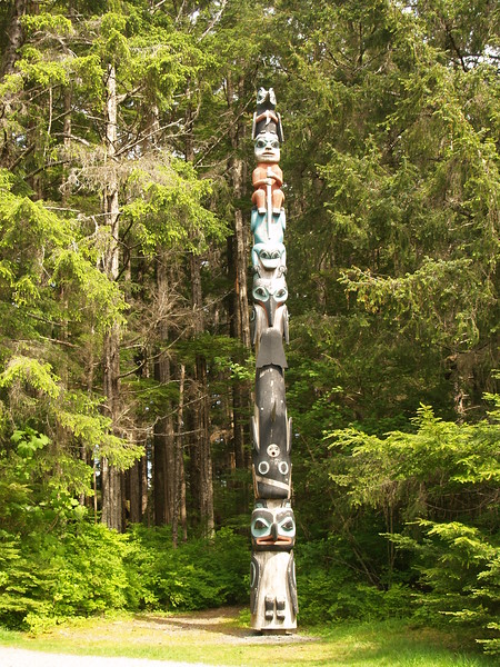 One of the totems on Totem Trail in the Sitka Historical National Park.