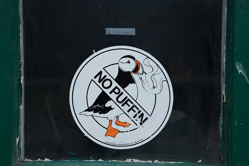 "These ""No Puffin"" signs were found at most hotels and restaurants."