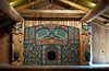 The longhouse interior stage at the Saxman Native Village in Ketchikan, Alaska, USA, America.