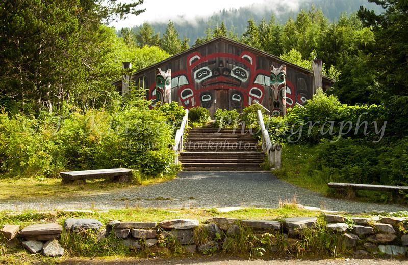 A longhouse at the Saxman Native Village in Ketchikan, Alaska, USA, America.