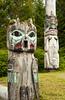 Totem poles at the Saxman Native Village in Ketchikan, Alaska, USA, America.