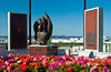 The Alaska statehood monument in Anchorage, Alaska, USA.