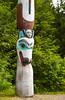 A totem pole at the Saxman Native Village in Ketchikan, Alaska, USA, America.