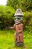 A small totem pole at the Saxman Native Village in Ketchikan, Alaska, USA, America.