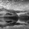 Black and White of Islands and Fog, Warm Springs Bay