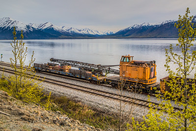 Alaska Railroad Crane Car, Glenn Highway, Alaska, USA