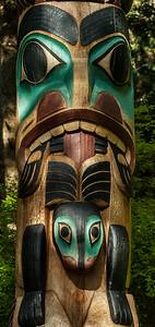 Tlingit Yaadaas Crest Corner Pole Detail - Sitka National Historical Park