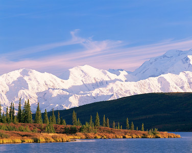 Alaska, Denali National Park, / Snow covered Mount McKinley, dominates the horizon line with tundra and Black spruce, Picea mariana behind Wonder Lake in afternoon light. 904H3