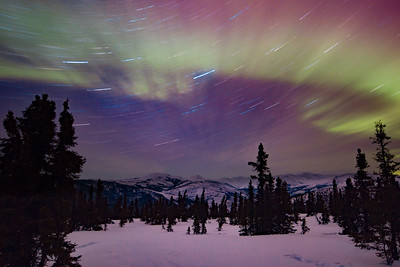 Star Trails of Northern Lights in Fairbanks, Alaska