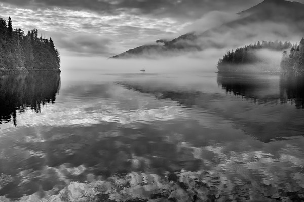 Black and White Version of Fog at Warm Springs Bay