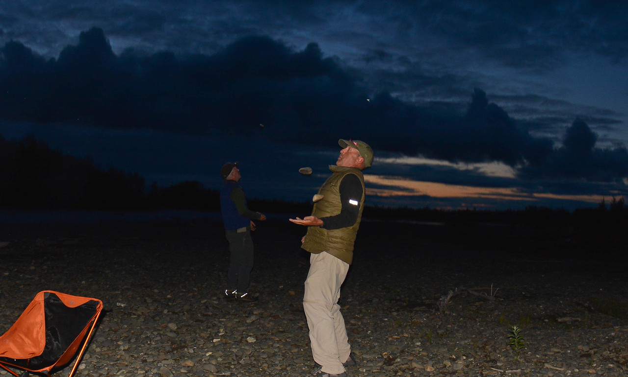 good indication of to much toddy...........betting others to juggle rocks in dark. fun times!