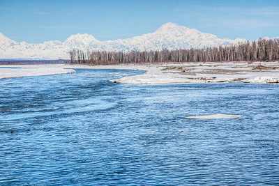 Spring day in Talkeetna, Alaska - Denali in distance