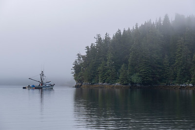 Fishing Boat in Mists, Warm Springs Bay