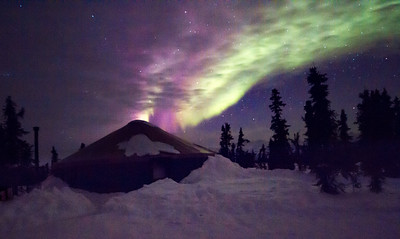 Yurt with Northern Lights in Fairbanks, Alaska