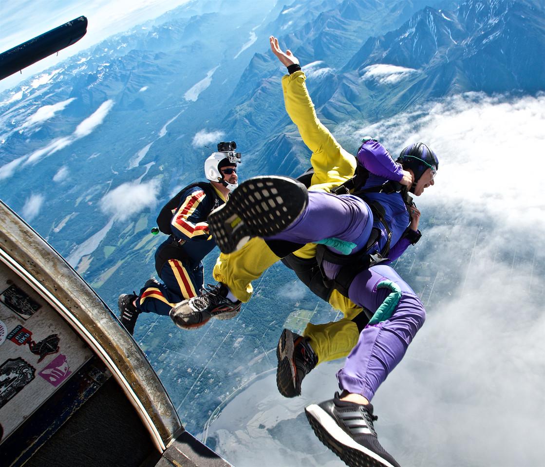 Tandem Exit over Alaska Skydive Center