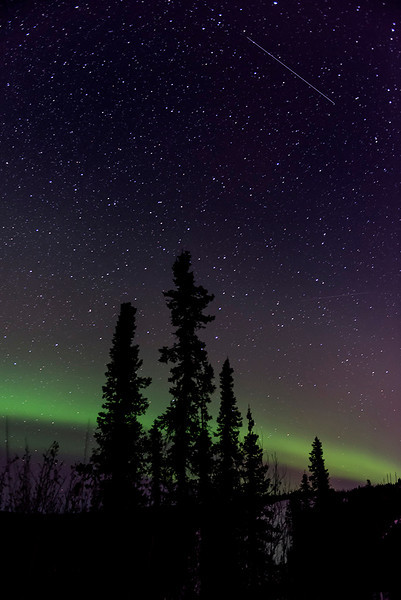 Aurora Borealis with Shooting Star - Alaska and Northern Lights - Mark Gromko - March 2013