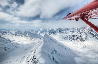 From airplane over Alaskan Mountain Range