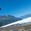 Matt Jaskol flies his canopy next to the mountains onto the Glacier in Palmer, AK.  Picture by Curt Vogelsang.