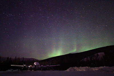 Plane with Northern Lights in Fairbanks, Alaska