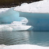 While Portage Glacier has retreated, the calved ice still finds its way to the edge of the lakeshore.