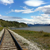 Looking down the Alaskan Railroad towards Girdwood, Alyeska and Seward.
