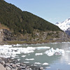A wider angled view of Portage Glacier Lake with icebergs.
