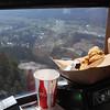 Our tram car driver was enjoying a tasty lunch of fish and chips in Alyeska ski resort, Girdwood, AK.